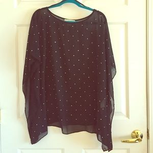 Black sheer tunic with silver sparkles