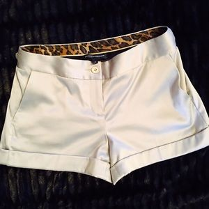 Shiny silver shorts size 2 w/silver link on sides