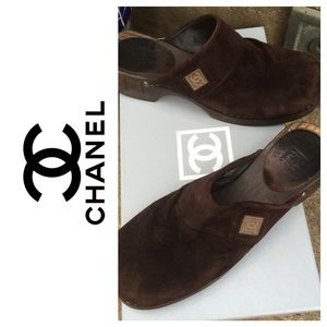 Chanel Dark Brown Suede Mule Clogs