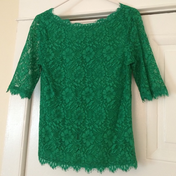 Pim + Larkin Tops | Pim Larkin Boatneck Lace Top Green ...