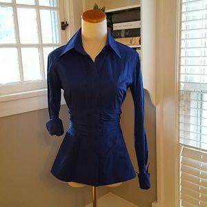 Couleur Tops - Cobalt blue rouched button up
