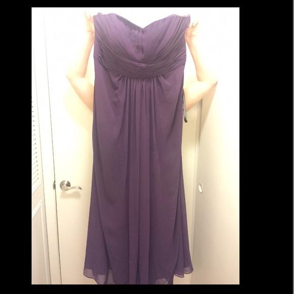 David\'s bridal plum plus size bridesmaid dress