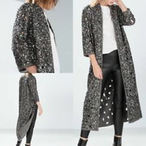 zara longline duster sequin cardigan jacket poshmark. Black Bedroom Furniture Sets. Home Design Ideas