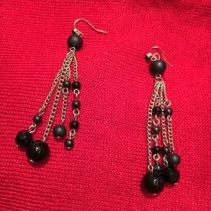 Silver and black brad dangle earrings