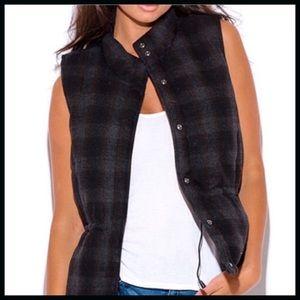 Wool Blend Plaid Puffer Vest