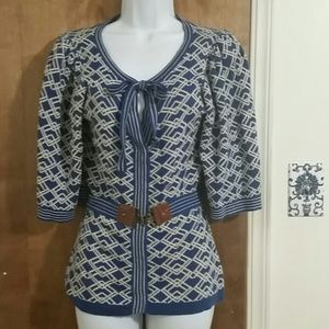 Blue white geometric sweater