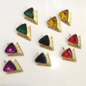 Jewelry - NEW 5 PAIRS of Colorful Pyramid Earrings