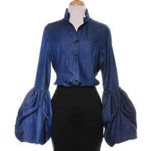 Tops - HOST PICK | Denim Button-Down Bell Sleeve Blouse