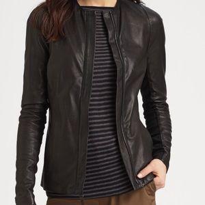 Vince Crew Neck Leather Jacket
