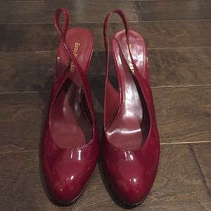 Enzo Angiolini red patent sling back heels sz10