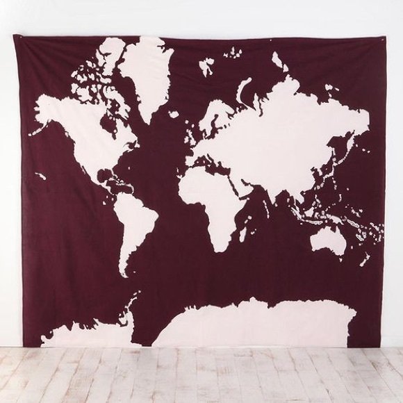 Urban Outfitters Other Uo Burgundy World Map Atlas Tapestry Poshmark