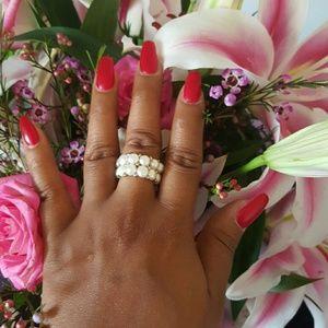 [BOGO 50%] Faux Pearl Stretch Ring