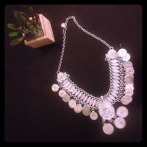 Silver pendant statement necklace