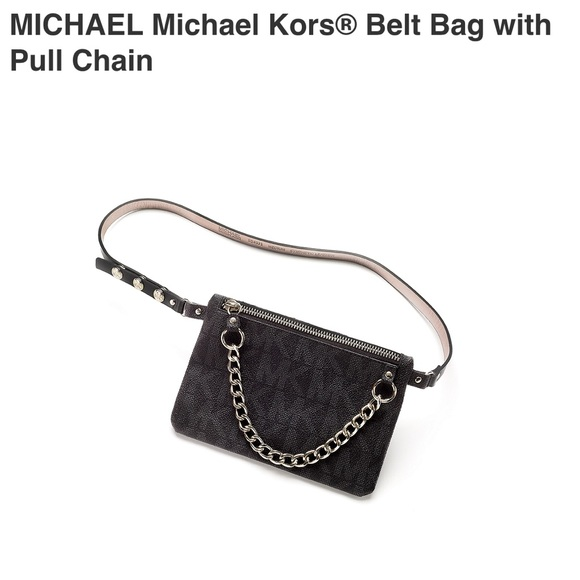 🆕Michael Kors Signature Belt Bag With Pull Chain 8ded9a1a93954