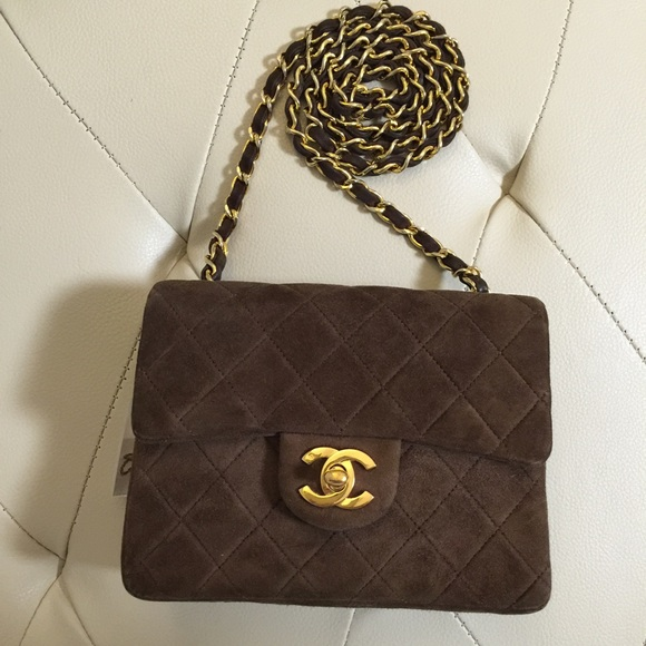 CHANEL Handbags - Vintage Chanel square mini brown suede 6fd3948cc0ab2