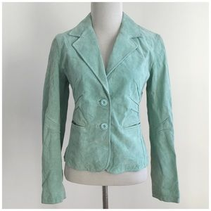 Wilsons Leather Jackets & Blazers - Green Suede Jacket