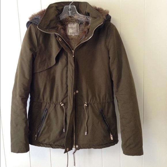 Zara green leather parka coat fur sheep hood