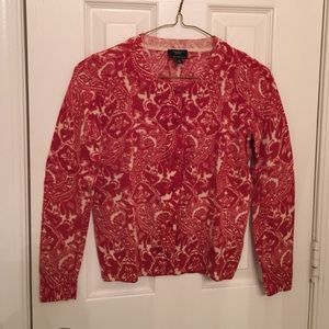 Patterned talbots cardigan sz small petite