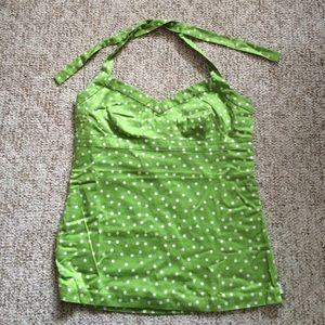Jcrew green & white polka dot halter top