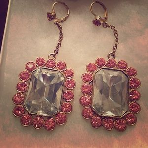 Betsey Johnson pink and white stone earrings
