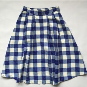 Dresses & Skirts - Blue and white gingham pleaded midi skirt