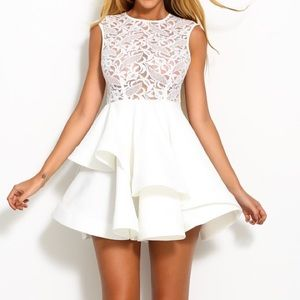 White Lace Tank Top Flare Dress