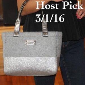 Kate Spade Quinn Glitter Dipped Heather Grey Bag