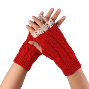Accessories - NEW Knit Fingerless Glove with Lace Fringe Detail