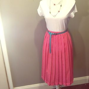 Vintage pleated elastic waist skirt
