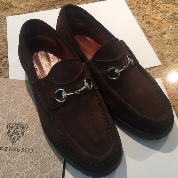 20b4183c4a8 Gucci Shoes - Gucci brown suede lug sole loafers silver horsebit