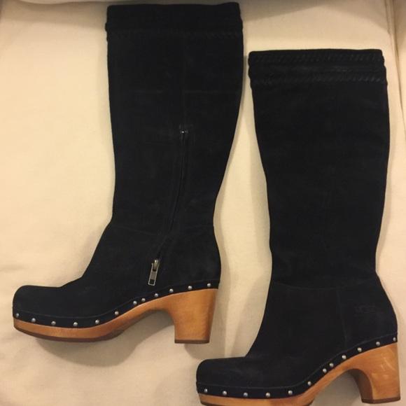 ugg suede heeled boots