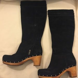 UGG Shoes - Ugg suede black boots with wooden heel