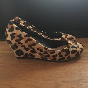 "Zara, 2"" leopard print calf hair wedge - 6.5"