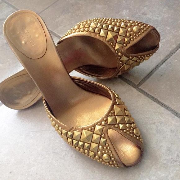 4c4e8fdd8f1e Gucci Shoes - Gold studded Gucci peep toe mule