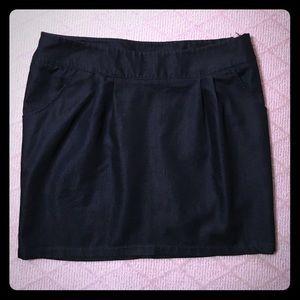 Classic Navy Zip-Up Mini Skirt