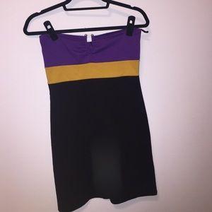Purple gold and black dress