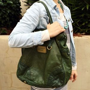 Marc by Marc Jacobs large green leather tote bag