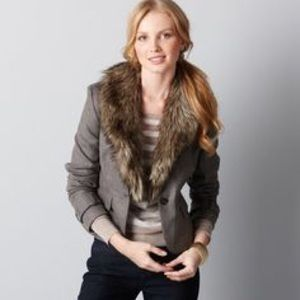 Removable Faux Fur Collar Twill Blazer