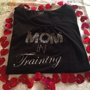 Maternity top with rhinestones writing