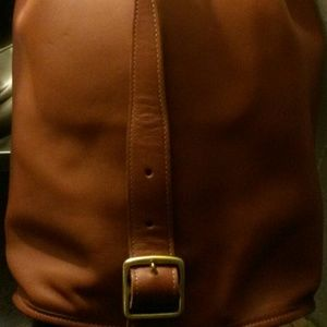 Hobo leather bag, cognac color