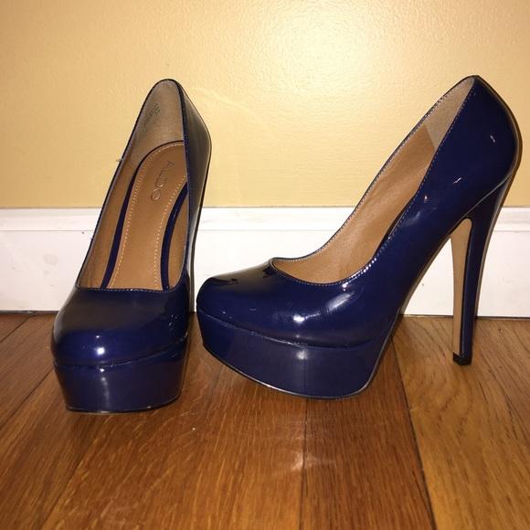 8607d111298 SALE Aldo Navy Blue Platform Patent Leather Pumps.  M 56c2765d291a35d4170106a1