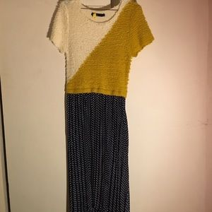 Dear Creatures Dresses & Skirts - Modcloth Yellow and Navy Polka Dot Dress