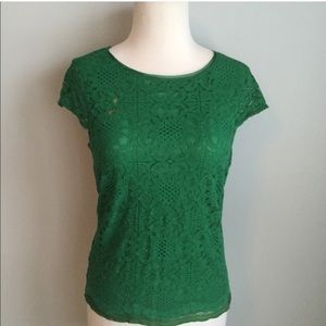 Sophie Max Tops - Green Lace Cap Sleeve Top; Fully Lined