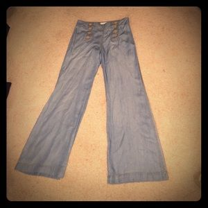 Elevenses chambray wide leg sailor jeans