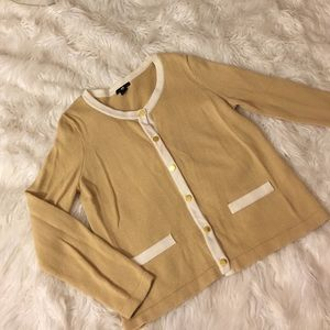 H&M Khaki cardigan with white trimming (medium)