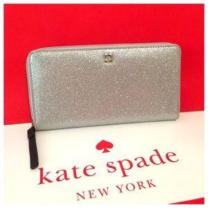 New Kate Spade silver glitter accordion zip wallet