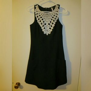 Kensie lace bib dress black sz XS