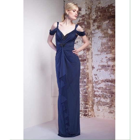 Mignon Dresses | Navy Cold Shoulder Evening Gown By Sz 8 | Poshmark