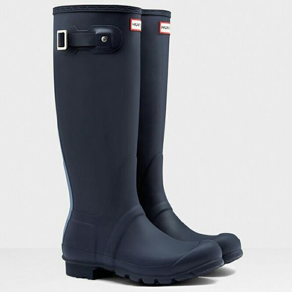 33% off Hunter Shoes - New Hunter Tall Blue Stripe Wellington Rain ...