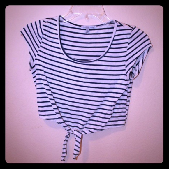 Charlotte Russe Tops - Charlotte Russe black and white striped crop top M